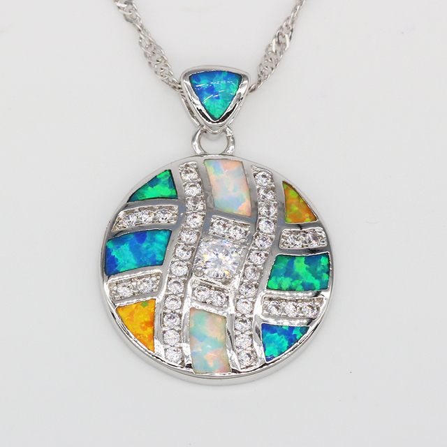 Fine Jewelry Womens Multi Color Opal Sterling Silver Pendant Necklace FqHzKBH5f