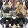 Niños de Camuflaje de impresión sudaderas de Algodón con suéter de cachemira de manga Larga bebé niño bebé caliente abrigo de invierno que espesan