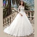 Modern Lace Completa Mangas vestido de Baile Vestido de Casamento Nupcial Vestidos Boat Neck Tulle Lace Up Trem Da Varredura Vestido De Noiva