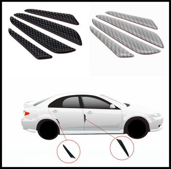 4 pcs car shape carbon fiber bumper door edge anti-collision strip for BMW M8 M550i M550d M4 M3 M240i M140i 530i 128i image