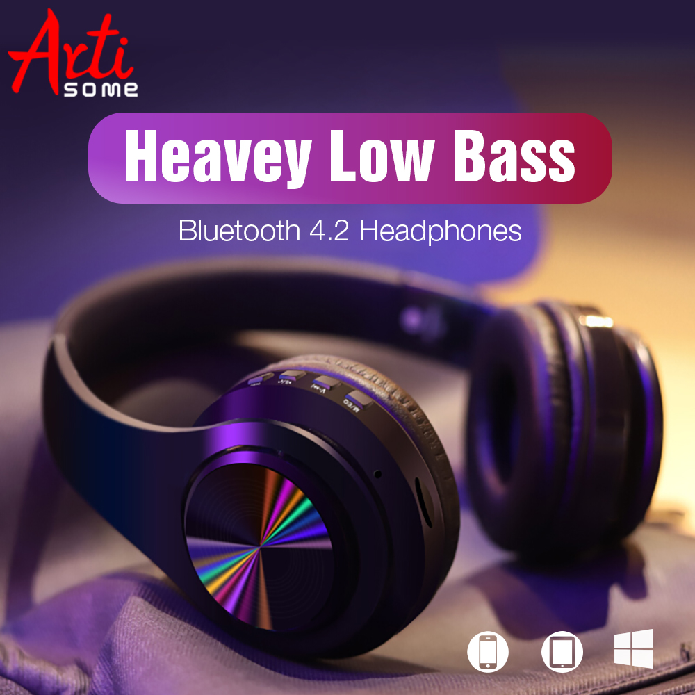 2019 NEW B7 Bluetooth Headphones Wireless Stereo Earphones Foldable Low Bass Headset Adjustable Earbuds With Microphone/TF Card