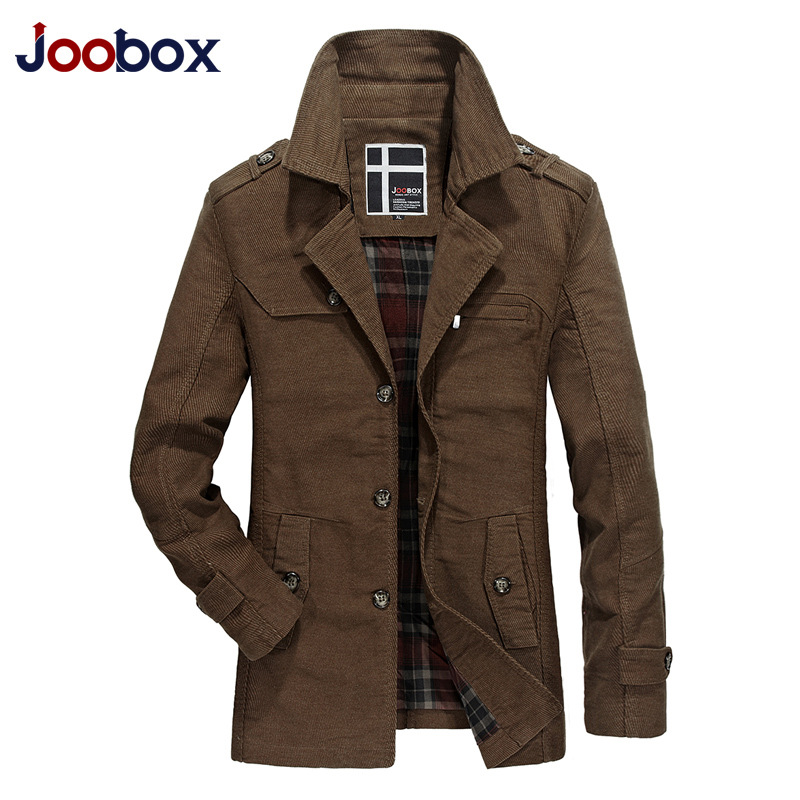JOOBOX Brand 2018 Cotton100% Fashion long trench coat men autumn Khaki Windbreaker Slim jacket England style Casual overcoat
