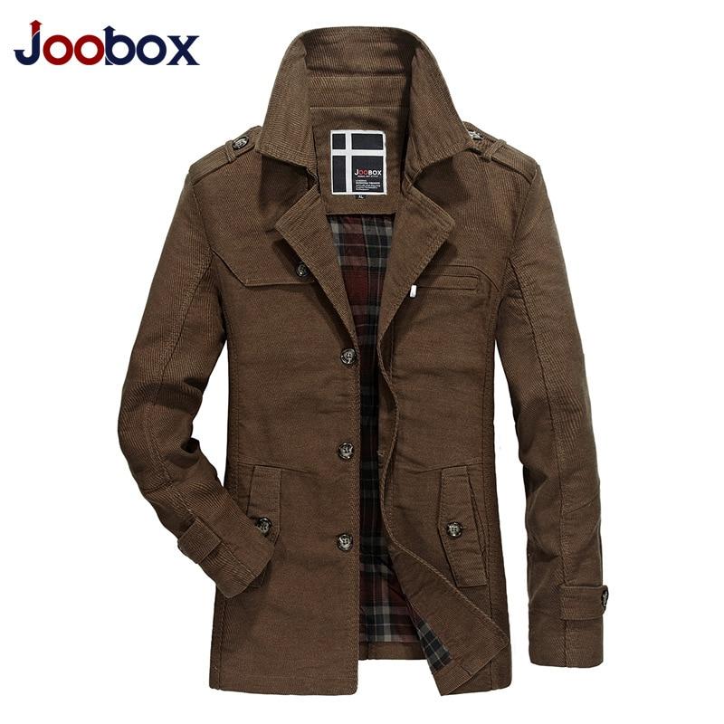 JOOBOX Marque 2018 Cotton100 % De Mode longue tranchée manteau hommes automne Kaki Coupe-Vent Mince veste Angleterre style Casual pardessus