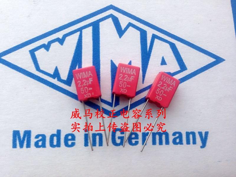 2019 Hot Sale 10pcs/20pcs German Capacitor WIMA MKS2 50V 2.2UF 2U2 50v225 P: 5mm Audio Capacitor Free Shipping