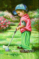 Paint Manufacturers In China Art Painting So Lovely Little Boy Plays Golf Oil Painting On