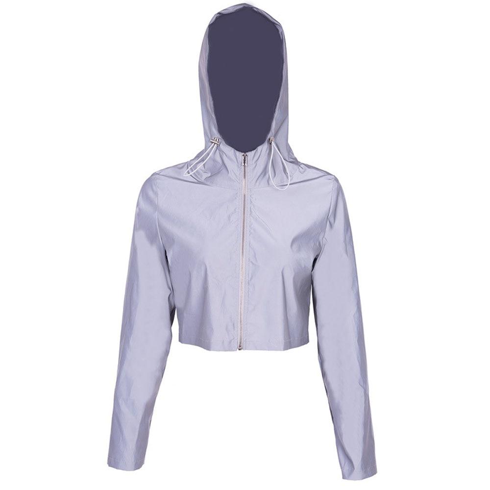 Светоотражающая куртка укороченная Толстовка уличная одежда толстовки Светоотражающая одежда s m l светится в темноте Женская куртка - Цвет: Серый