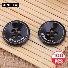 11.5/15.0mm 100pcs Round Solid Buttons Resin Handmade Four Holes DIY Shirt Bottons High Clothing Accessories Wholesale