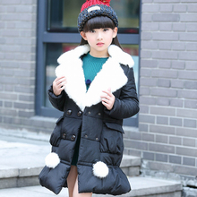 2016 children parkas Leopard Faux Fur Collar Coat Girls Children UP leather Winter warm snowsuit christmas Outerwear down Jacket