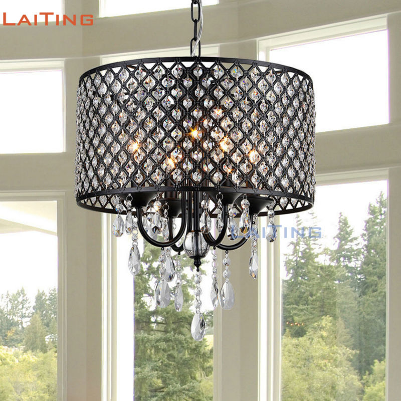 Modern Antique Black Crystal Hanging Light Cheap Dining Room Pendant Light with Shade LT-71143
