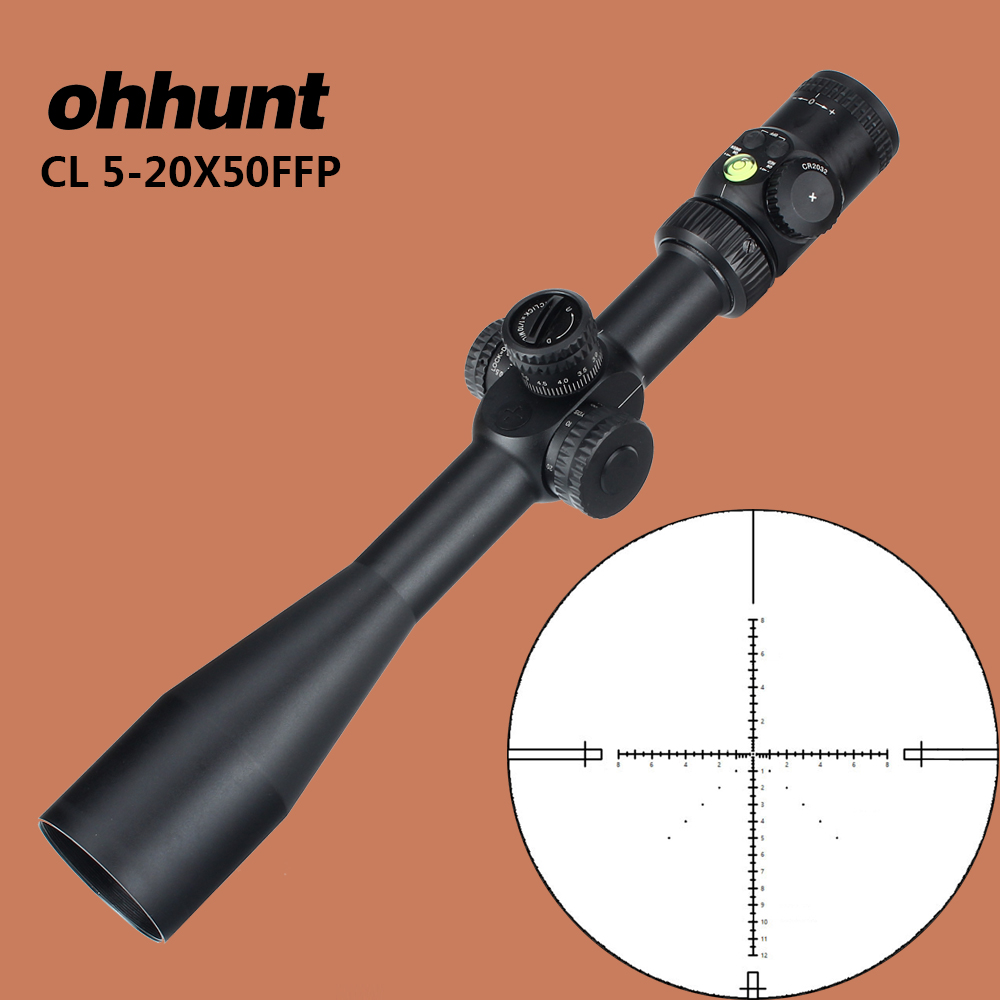 ohhunt CL 5-20X50 FFP Tactical Optical Sights First Focal Plane Red Green Illuminated Glass Reticle with Lock Reset Rifle Scope marcool 4 16x44 side focus front focal plane optical sights rifle scope hunting riflescopes for tactical gun scopes for adults