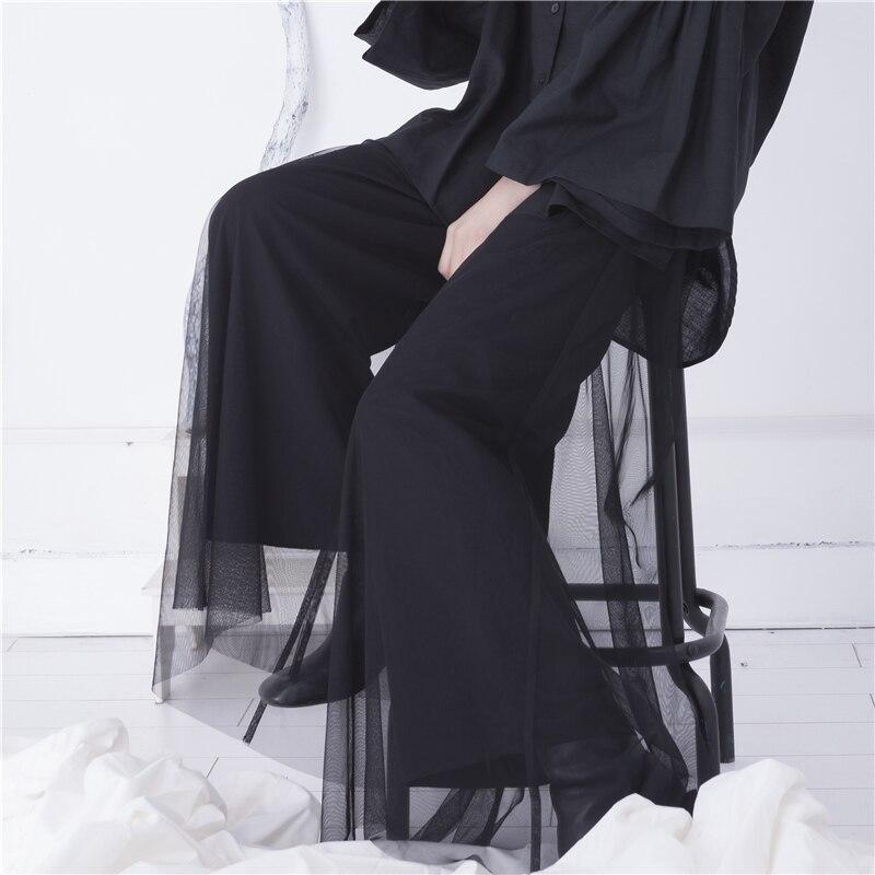 Cakucool Hoge taille gaas zwart buste broek 2019 herfst nieuwe koude wind retro losse breed been broek vrouwen broek-in Broek & capris van Dames Kleding op  Groep 2