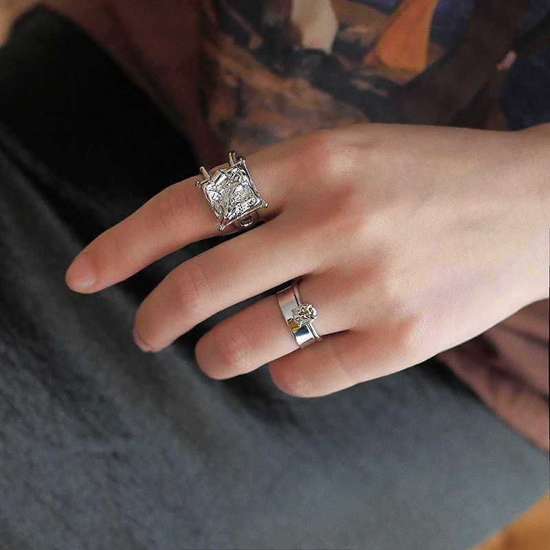 Peri'sBox โกธิคเงินฟอยล์สีริ้วรอยชุดแหวนสำหรับ Lady Chic LAVA เปิดแหวนผู้หญิงซ้อนแหวนเครื่องประดับของขวัญผิดปกติ
