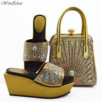 Gold Shoes and Matching Bag Set With Rhonstones Wonderful Italian Matching Shoes and Bags for lady Party 38 42 WENZHAN B95 22