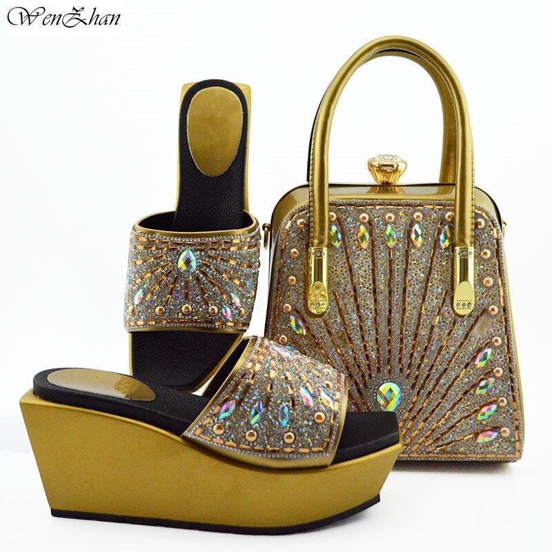 Gold Schuhe und Passende Tasche Set Mit Rhonstones Wunderbare Italienische Passenden Schuhe und Taschen für dame Party 38 42 WENZHAN B95 22-in Damenpumps aus Schuhe bei  Gruppe 1