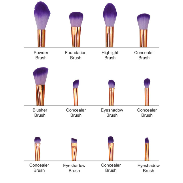 12pcs Unicorn Diamond Shape Makeup brushes Glitter brochas Blusher Powder Eyeshadow Lip Foundation Brush pincel de unicornio