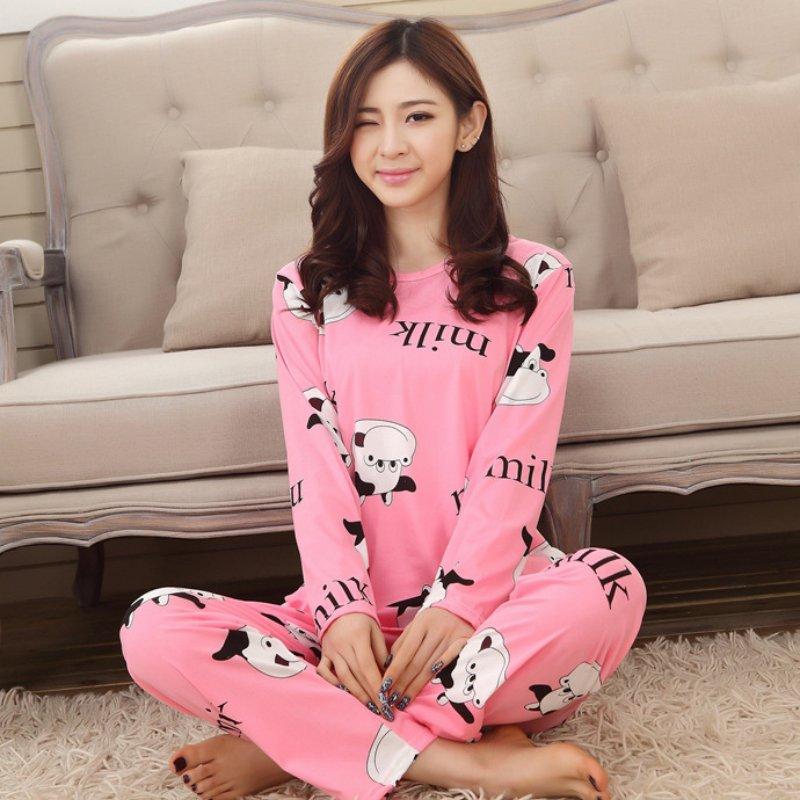 Autumn Winter Ladies Women Long Sleeve Sleepwear Cartoon   Pajamas     Set   Leisurewear Homewear Solid