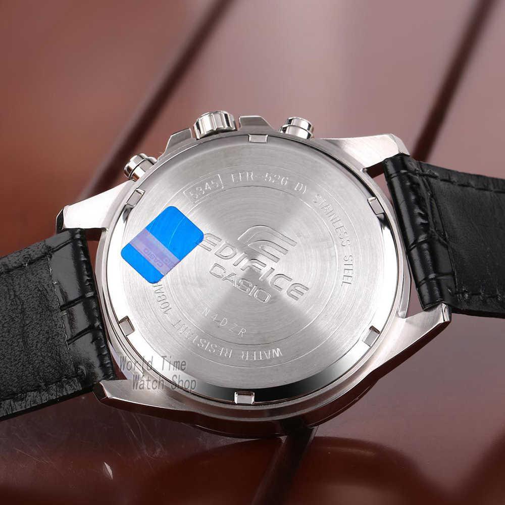 ... Часы Casio Edifice Мужские кварцевые спортивные часы кожаный ремешок  стальной пояс бизнес водонепроницаемые часы EFR- ... 6a16b1d8af87e