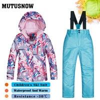 Girls Ski Suit Children's Brands Thick High Quality Skiwear Windproof Waterproof Snow Warm Child New Winter Snowboard Suit FSHY