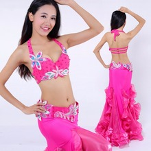 2017 Pretty Lady Belly Dance Costumes 2pcs/3pcs With Bra&Belt&Skirt For Almofada De Pescoco Female Performance Suit 3096