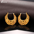 Thick Hoop Earring For Women Aros Gold Filled Circle Earrings Creole Earrings Vintage / Plated Maxi Earrings 2016 E6771G