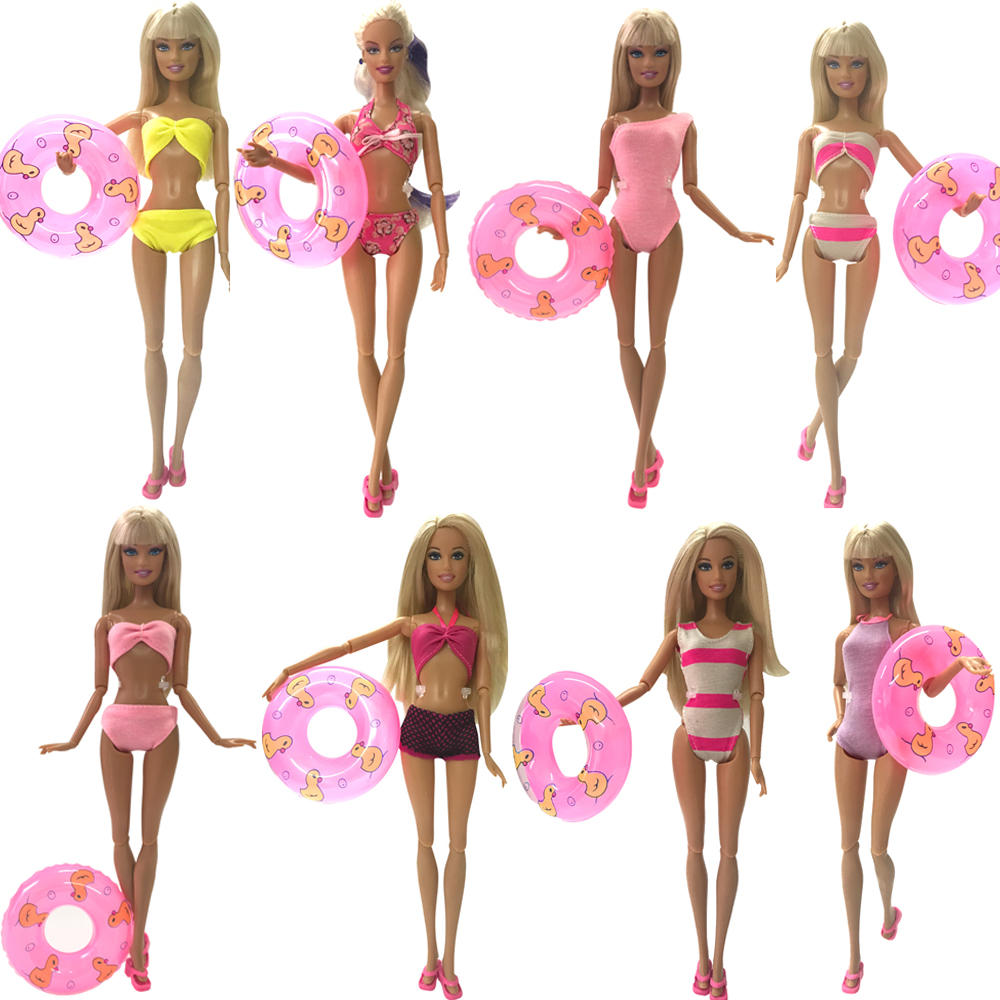 NK Doll Swimwear Clothes 5 Randomly Beach Swimsuit +5 Slippers +5 Swimming laps For Barbie Doll Accessories  Outfits  Toys DZ