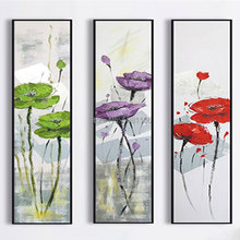 hand painted modern chinese flowers oil painting Gentle Color wall art Triptych canvas picture green purple red floral