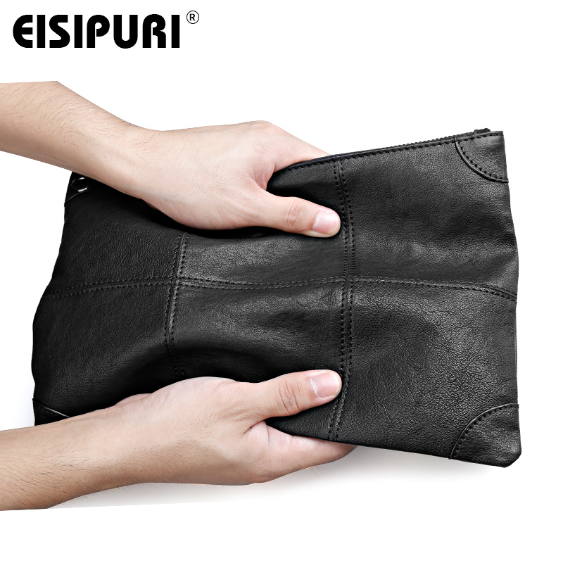 EISIPURI MEN soft genuine leather handbag and purse fashion genuine cow leather men clutch bag high quality designer handbag цена 2017