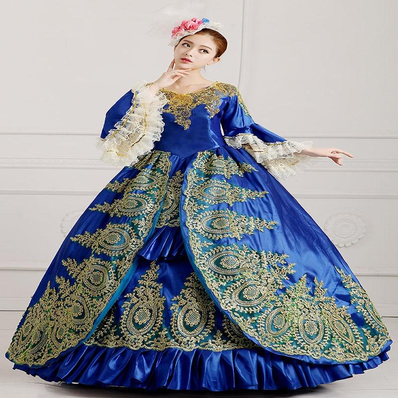 Partie Femmes as Marie As Or Flare Robes Long antoinette Picture Manches Arrivée Appliques Siècle 18th Picture Robe Pour Nouvelle Bleu Baroque Rococo fqzwROxnTF