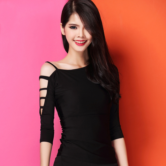 Di modo di nuovo Viscosa abbigliamento formazione di danza Latino top per le donne/donna/ragazza, vogue nero di spalla della signora della cinghia di danza moderna Y805