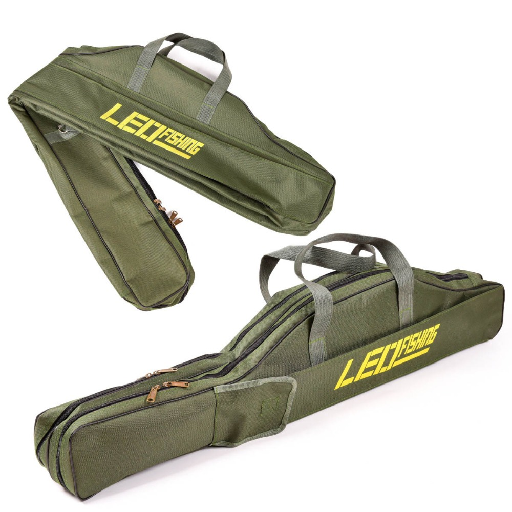 Image 2 - Portable Fishing Bag Folding Fishing Rod Carrier Canvas Fishing Pole Tools Storage Bag Case Fishing Gear Tackle Bags Pesca L30-in Fishing Bags from Sports & Entertainment