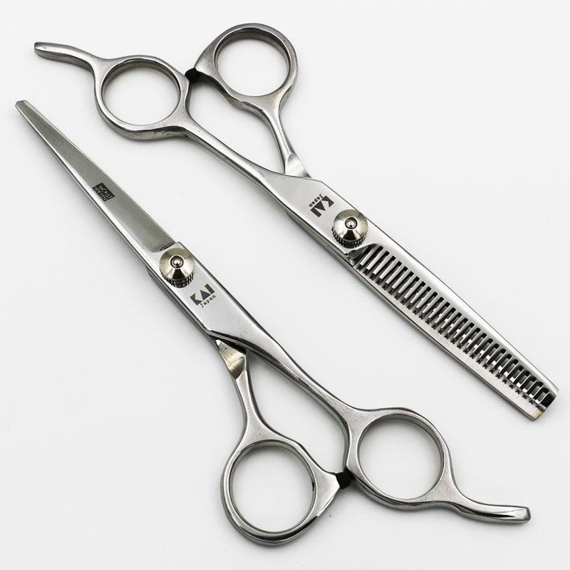Tijeras para el cabello de acero inoxidable profesional Salón de corte Adelgazamiento Tijeras de peluquería dientes planos regulares Blade Styling herramientas