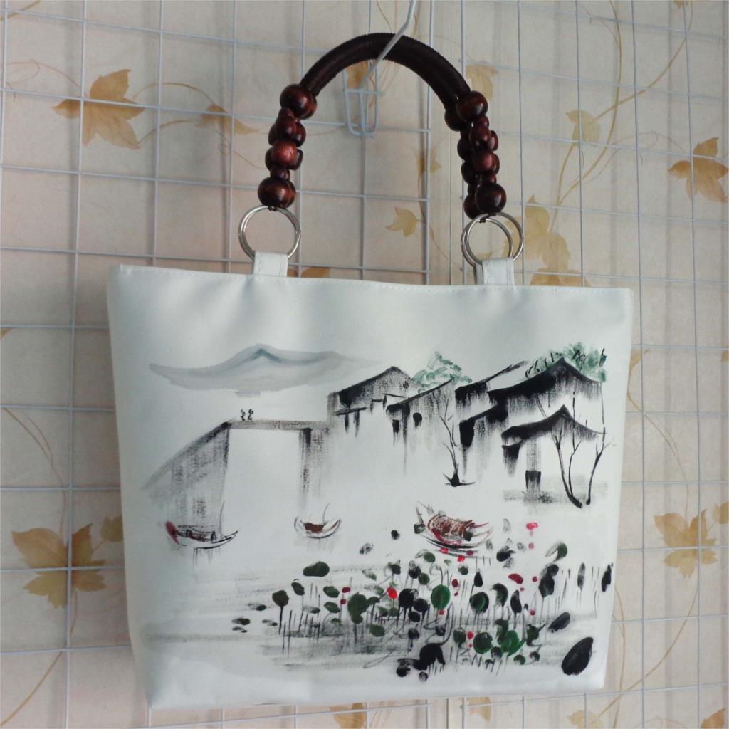 New National Ethnic Canvas Ink Scenery Hand Painting Bag Vintage Large Handbag Wood Beads White Shoulder Bag High Quality