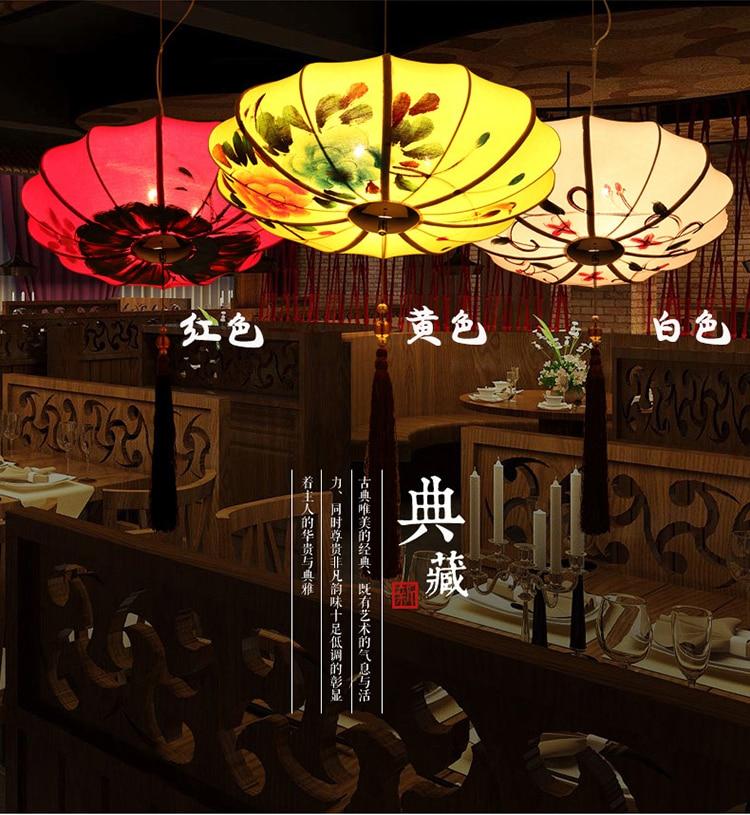 Chinese Pendant Lights hand painting cloth art lanterns Chinese restaurants hot pot shops decor LU62366 ZL386