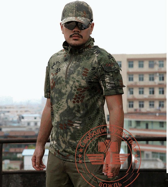 Tactical Mens T-Shirt Summer Combat Short Sleeve Top Military T Shirts Camouflage Training Dry Tee Shirts Plus Size