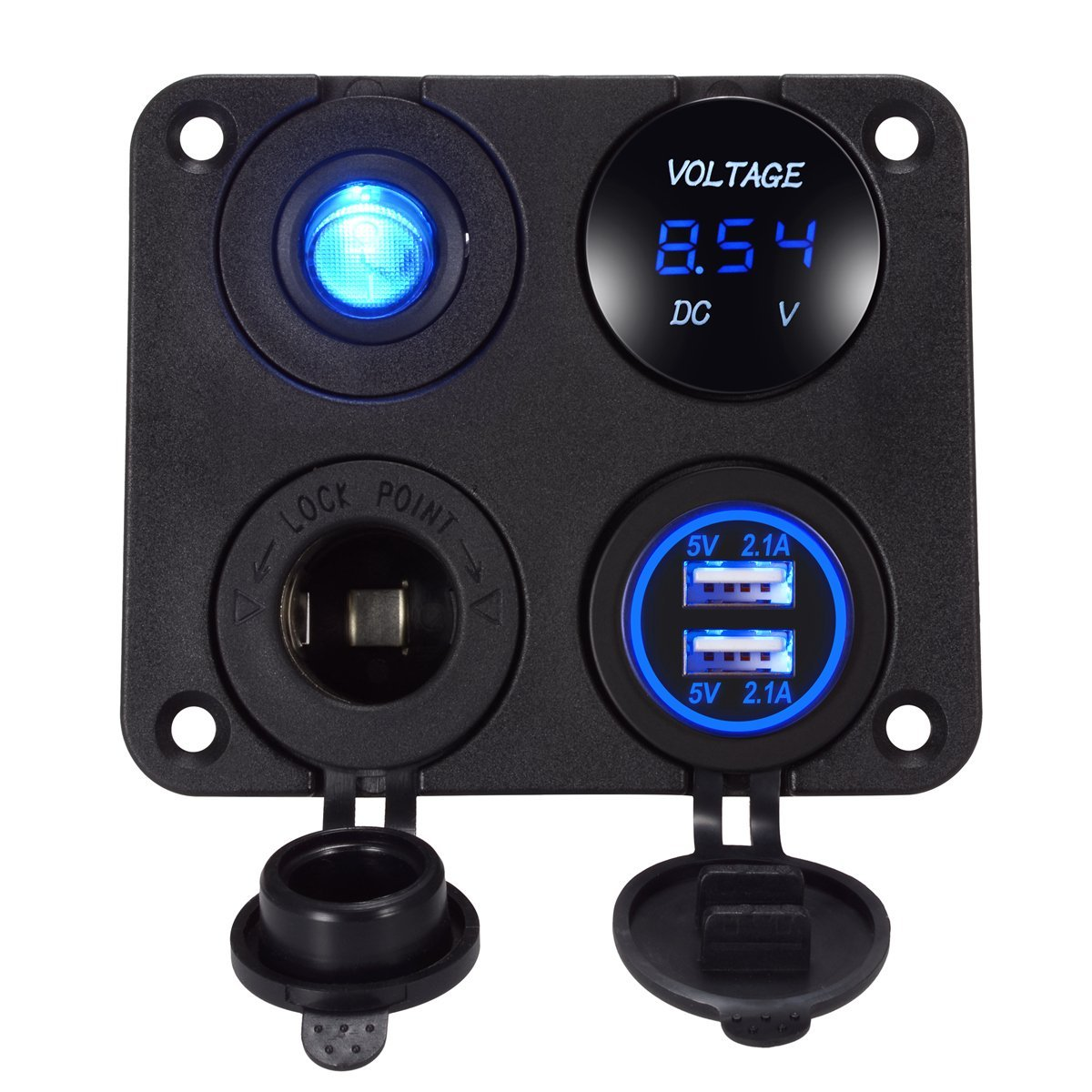 4 In 1 Car Charger Dual USB Charger 4.2A Voltmeter 12V Cigarette Lighter ON-OFF Switch For Boat Marine RV Truck Camper Vehicles