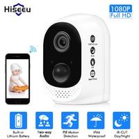 Hiseeu Battery wifi IP Camera 1080P Rechargeable 10400mA Battery Powered wireless home safety cctv Camera PIR alarm waterproof