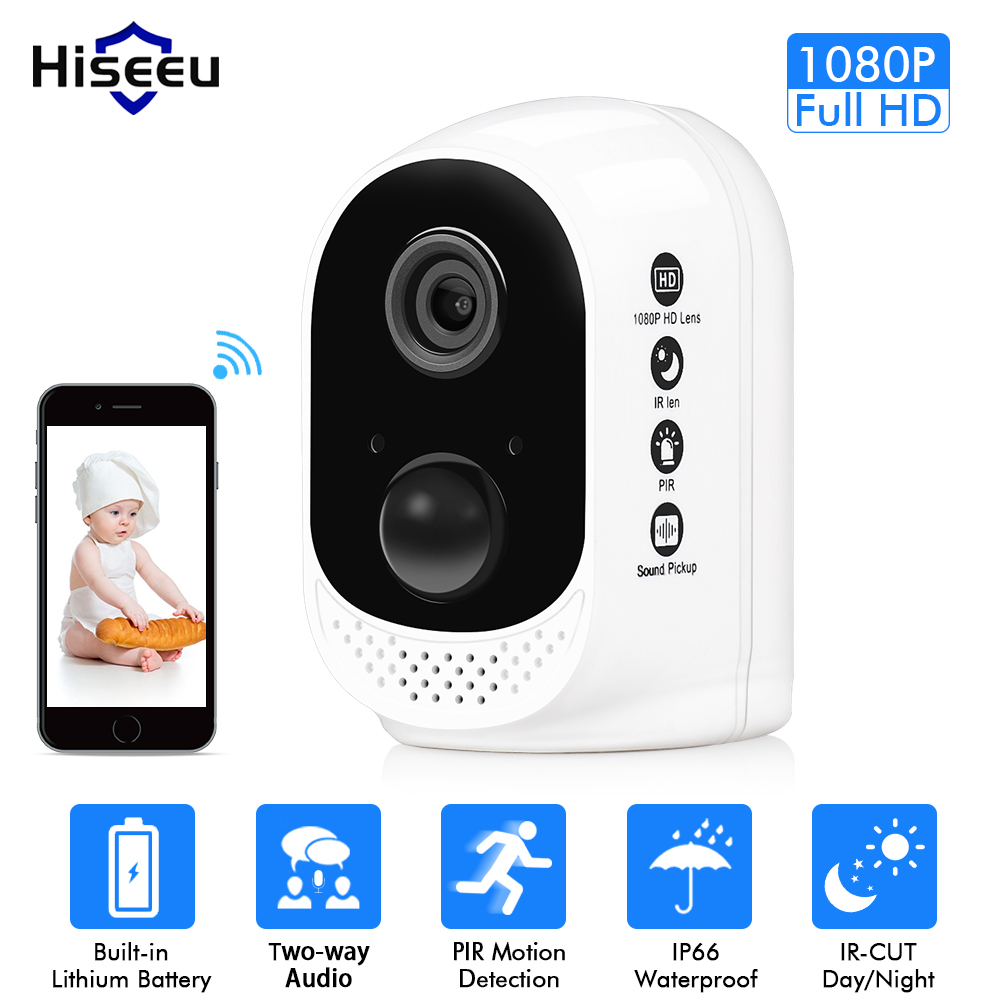 Hiseeu Battery wifi IP Camera 1080P Rechargeable 10400mA Battery Powered wireless home safety cctv Camera PIR alarm waterproof