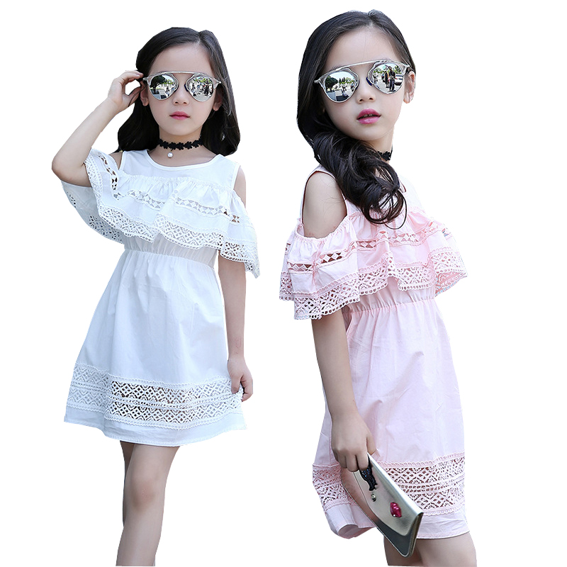Girls Off Shoulder Dress 2017 Summer Style Lace Dress with Sleeves Teenage Girls Fashion Cotton Hollow Out Dress Girls Clothes retail teenage girls off shoulder dress kids girls dresses summer 2017 tutu patched dress summer style black pink