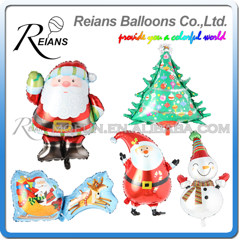 50pcs/lot REIANS cartoon Father Christmas tree Snowman Santa Claus Elk Cart kids decoration aluminum foil balloon party supplies