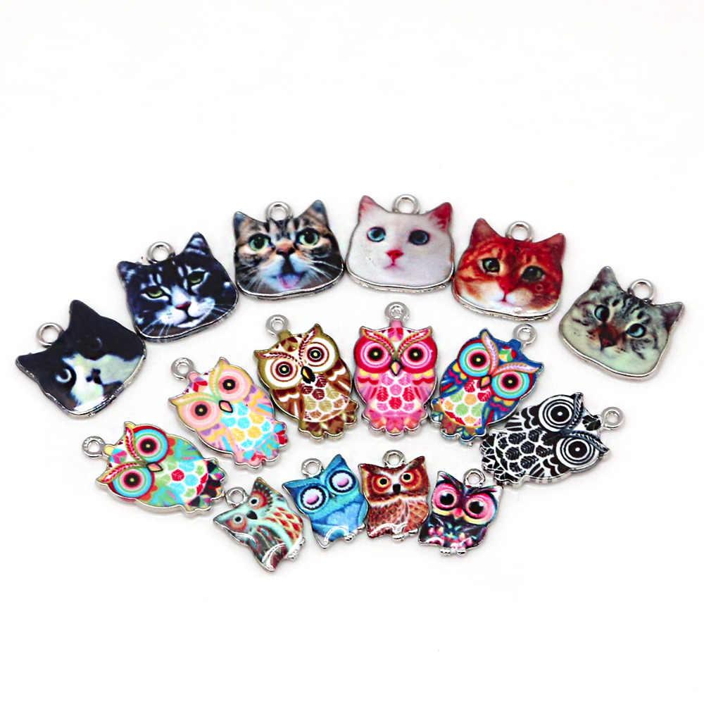 2-6 pcs Multi tamanho Gato Coruja Esmalte Spacer Beads Charme Fit DIY Colar Pulseira Pingente Para Descobertas Jóias fazendo o Furo 1.5/2mm