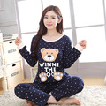 2016 New Autumn Women's Pyjamas Sets Girls' Cute Cartoon Bear Printed Long-sleeve Tshirt And Trousers Sleepwear