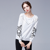 Haut Femme Manche Longue 2015 Fashion Geometric Graphic Tees Tops Long Sleeve Loose T Shirt Women