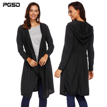 PGSD Autumn winter Women clothes Black simple Long sleeves Irregular Knitted sweater pocket hooded Medium long Cardigan female
