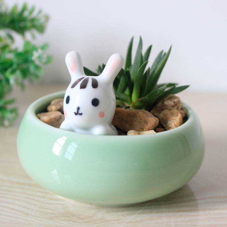 Home Craft Ideas Easter Bunny Flower Pot Craft Flower Pot: Cute Bunny Flower Pot Desktop Flower Pots Planters Ceramic