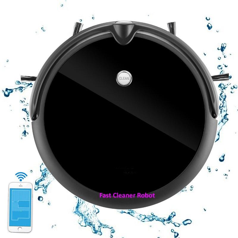 Più nuovo Monitor Della Macchina Fotografica di Video Chiamata Intelligente Aspirapolvere Robot Con Il Programma Navitation, WiFi App di Controllo, di Memoria Intelligente, serbatoio di acqua