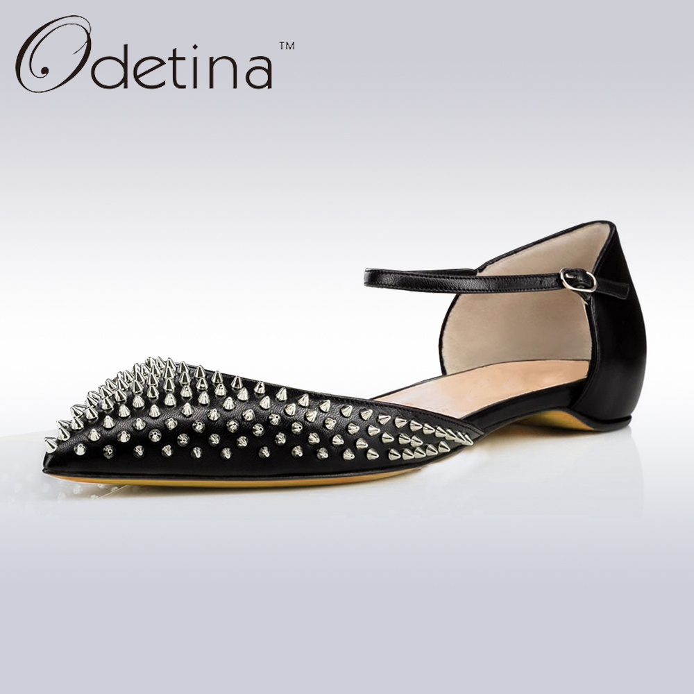 Odetina 2017 Spring Brand Fashion Mary Jane Shoes Flat Pointed Toe Rivet Flats Buckle Ankle Strap D'Orsay Flat Shoes Tow-Piece odetina 2017 new summer women ankle strap ballet flats buckle hollow out flat shoes pointed toe ladies comfortable casual shoes