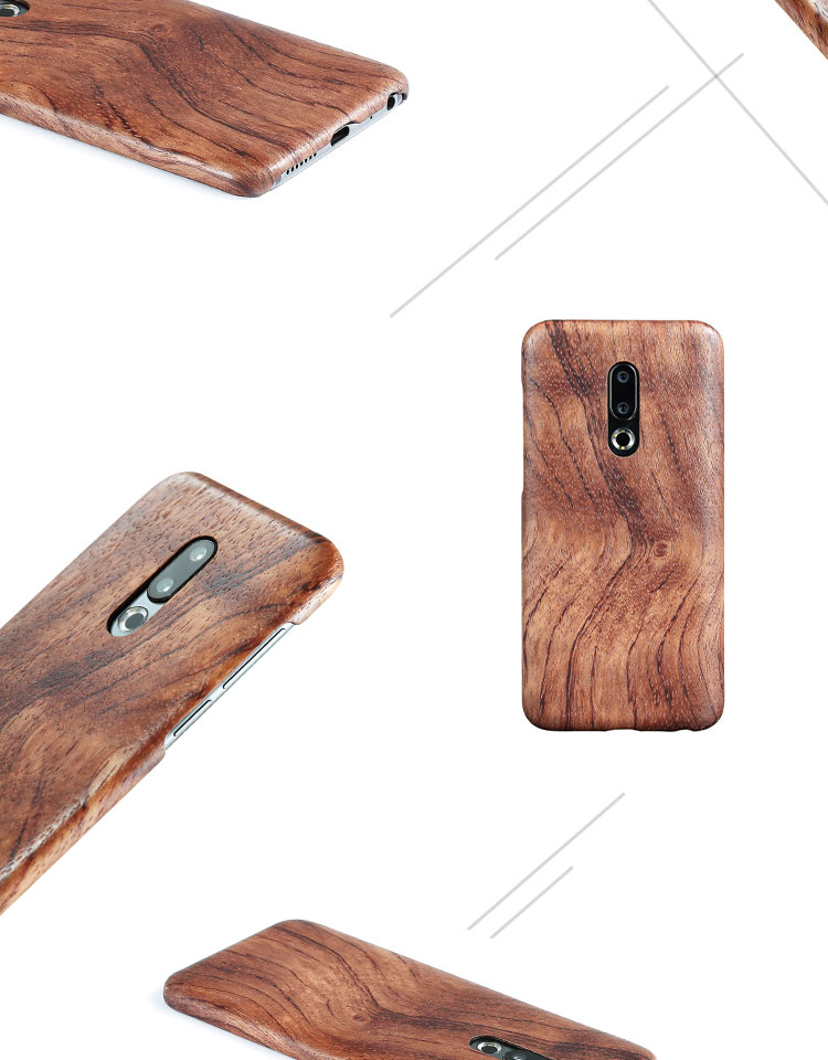 Image 4 - walnut Enony Wood Rosewood MAHOGANY  Wooden Slim Back Case Cover For Meizu 16th /16th PlusFitted Cases   -