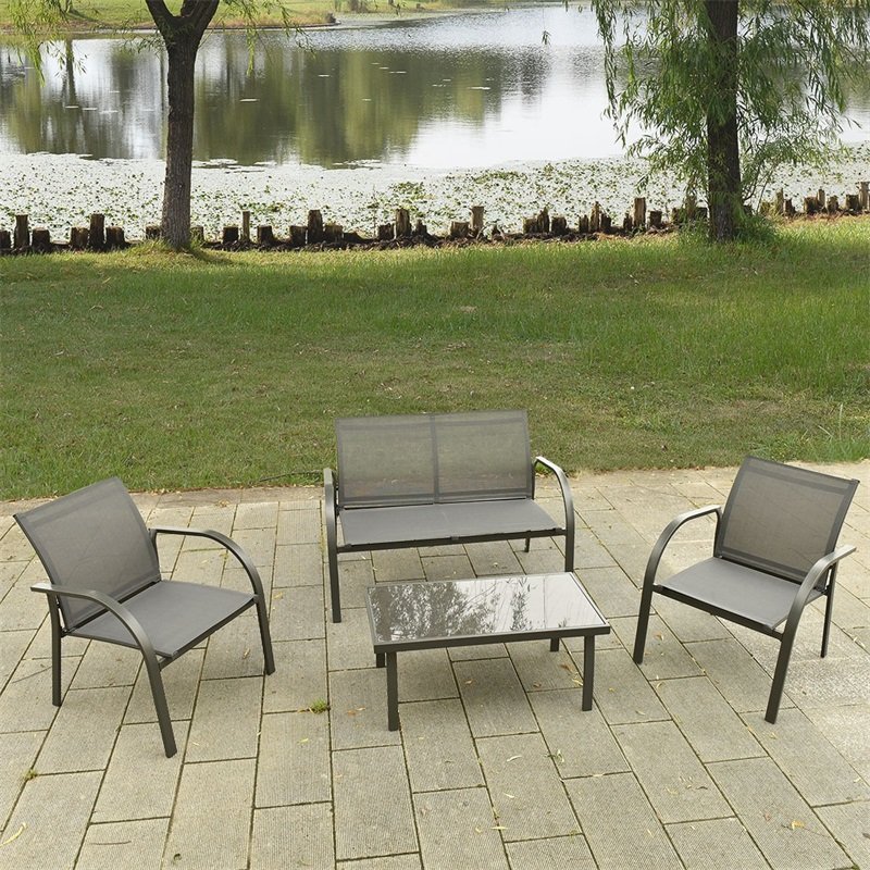 4 Pcs Outdoor Patio Steel Table Chairs Sets Garden Furniture Chairs And Sofa With Armrest Glass Top Coffee Table HW52143
