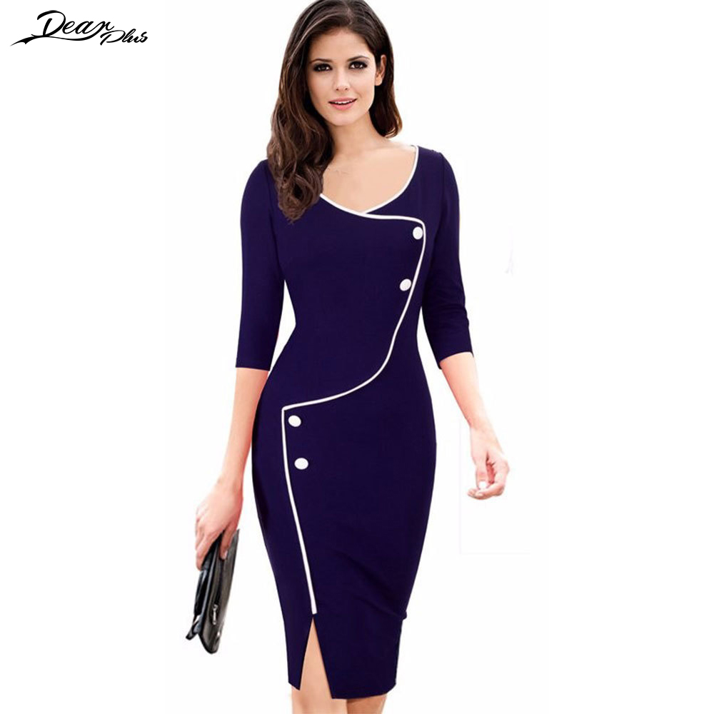 New Arrival Patchwork Color Block Button Casual Work Pencil Dress Women Half Sleeve Bodycon Slim
