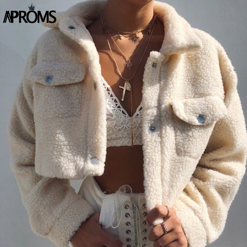Aproms Teddy Jacket Coat Front-Pockets Cropped Female Elegant Thick Warm Soft Autumn Winter